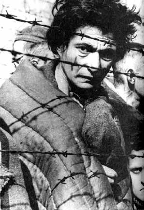 Survivor of Auschwitz shown in a movie made by the Soviet liberators