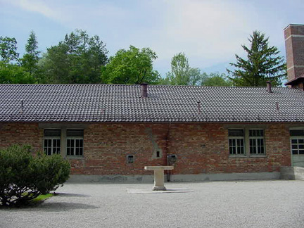 Photo of Dachau Baracke X building shows a vent pipe over the gas chamber