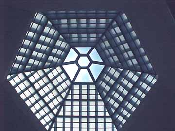 Six-sided skylight at the top of the Hall of Remembrance