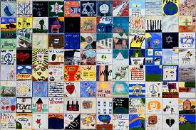 Tiles show pictures painted by children