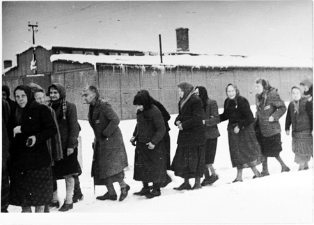 Old women marching out of the Birkeanau camp in Feb. 1945
