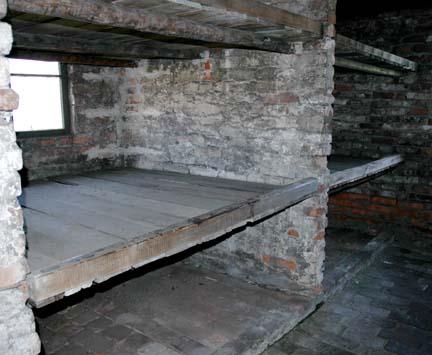 Bunk beds inside the women's barracks
