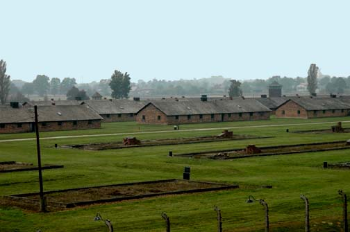 View of women's camp from the tower of the gate house at Auschwitz-Birkenau