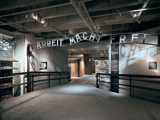 Photo shows the interior of the United States Holocaust Memorial Museum