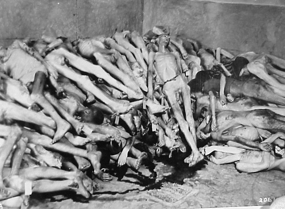 Bodies stacked up in the morgue at Dachau