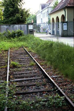A section of the tracks at the former railroad gate has been preserved