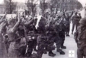 German soldiers who have surrendered outside the Dachau camp