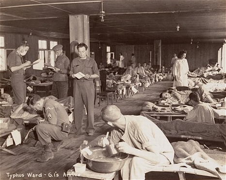 Prisoners in the typhus ward set by Americans after Dachau was liberated