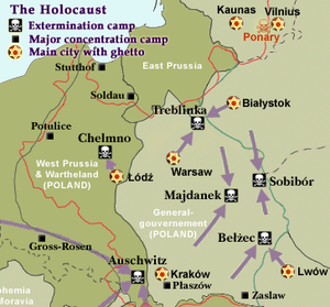 Map shows the six death camps of the Holocaust