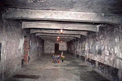 Alleged gas chamber at Auschwitz has no blue stains on the walls