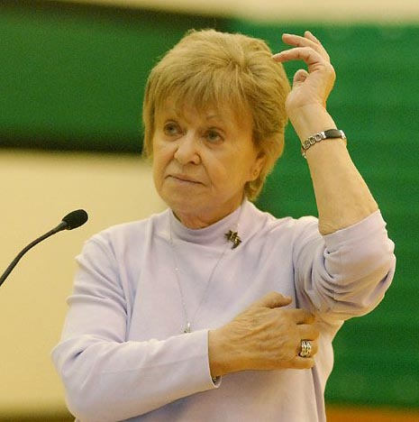 Irene Zisblatt points to spot where her tatoo was removed by Dr. Mengele