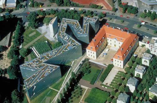Aerial view shows the Jewish Museum on the left, next door to a traditional German building