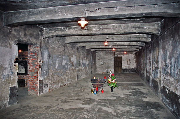 Gas chamber that is shown to tourists in main Auschwitz camp