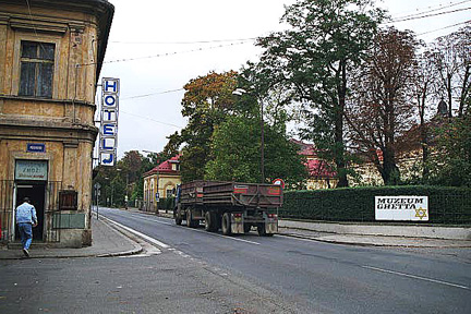 The road that goes through the town of Terezin, October 2000