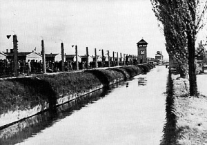 Dachau concentration camp with moat and poplar trees