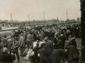 Jews arriving on a train inside the Auschwitz-Birkenau camp