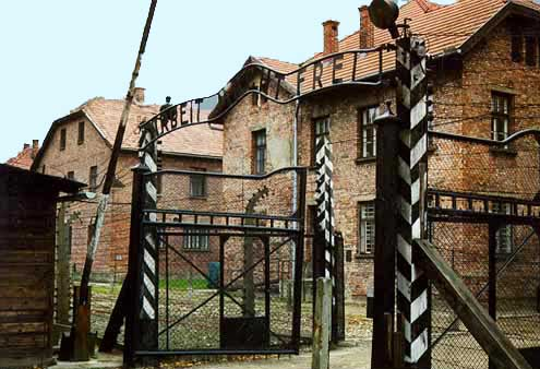 Gate into the Auschwitz main camp which was opened in 1940