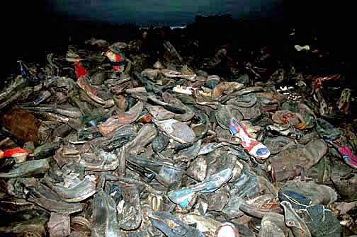 Shoes on display in Block 5 at the Auschwitz main camp