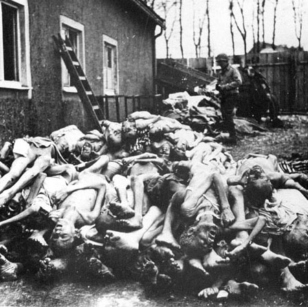 Bodies piled up at Buchenwald after the camp was liberated