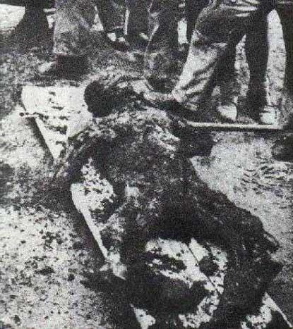 Burned body of Desourteaux, the mayor of Oradour-sur-Glane