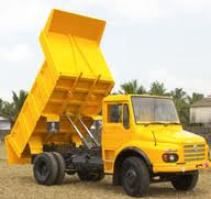 A tipper-type lorry, called a dump truck in America