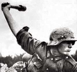 "German soldier throwing a ""potato masher"""