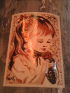 Painting of a little girl with a handgrenade