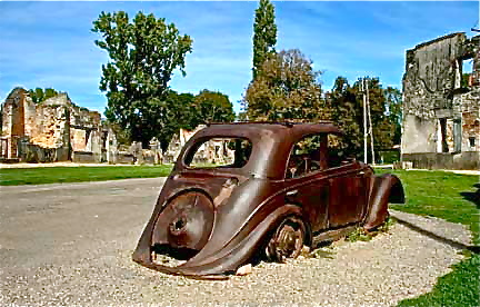Old car at the ruins of Oradour-sur-Glane