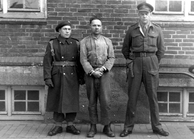 Rudolf Hoess in custody after he was captured