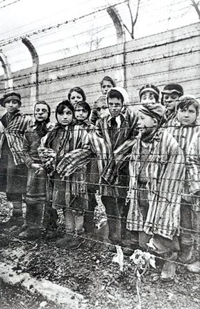 Child survivors of Auschwitz-Birkenau. Miriam Mozes, Eva's twin in on the far right