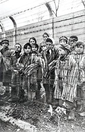 Child survivors of Auschwitz-Birkenau. Miriam Mozes, Eva's twin in on the far right