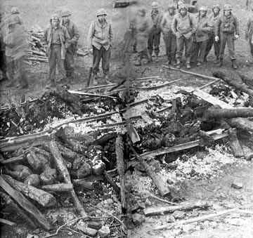 Burned bodies found at the Ohrdruf sub-camp of Buchenwald