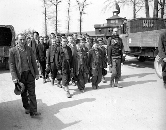 Buchenwald orphans march out of the camp; where is Elie Wiesel?