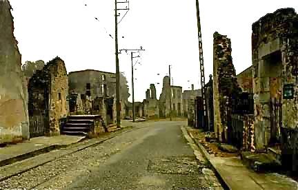 Ruins along the road into Oradour-sur-Glane