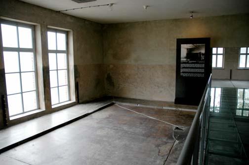 The women's shower room in the Central Sauna at Auschwitz-Birkenau