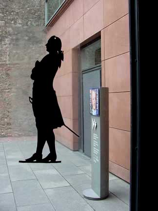 Silhoutte of Goethe, as seen through the door of the Museum