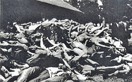 Photo of the mountain of dead bodies at Dachau was taken in May 1945
