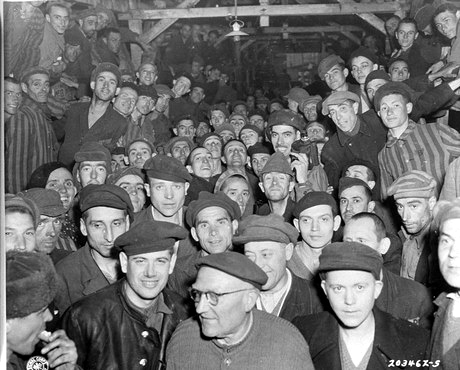Starving prisoners in the crowded barracks at Buchenwald