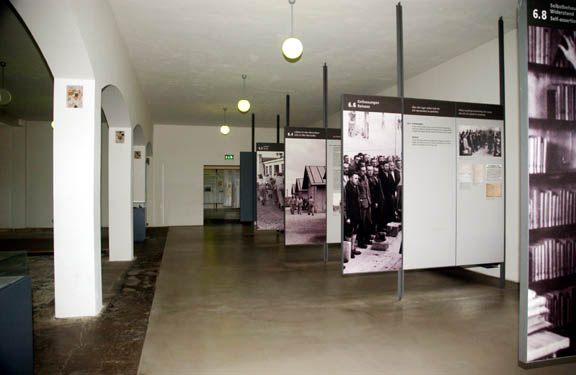 Former shower room at Dachau is now used for Museum displays