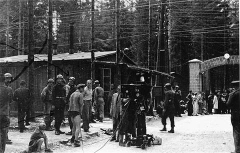 Film crew is ready to film the Ebensee camp