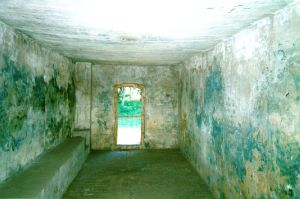 Stains cause by Zyklon-B gas inside the Stutthof gas chamber