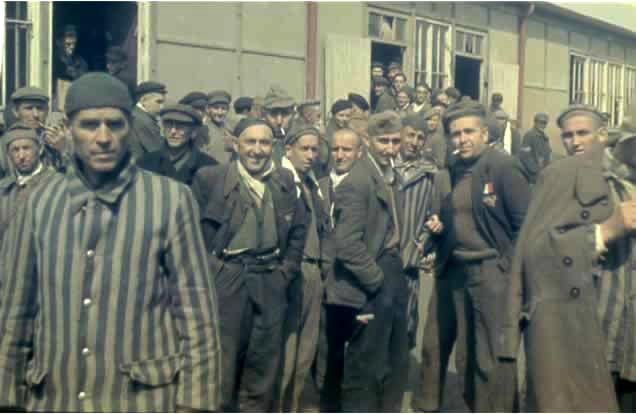 """Political prisoners"" at Dachau after the camp was liberated"