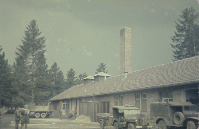 Photo of Dachau crematorium building, taken on May 1, 1945 shows no pile of bodies