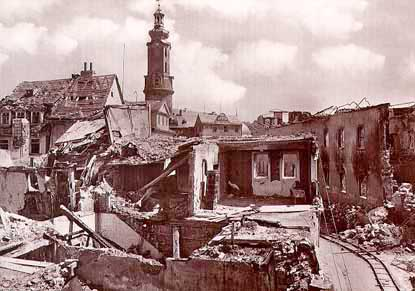 The bombed ruins of Weimar was deserted when American soldiers arrived