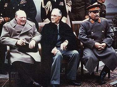 Churchhill, Roosevelt and Joseph Stalin at the Yalta Conference