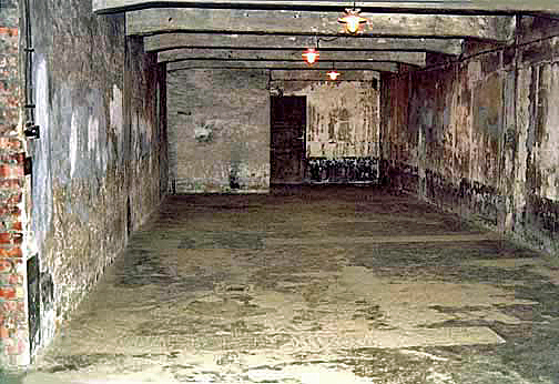 Gas chamber in the main Auschwitz camp, near the gallows where Hoess was hanged