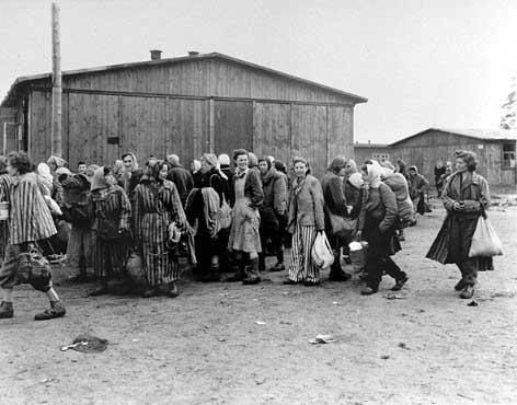 Jewish survivors at the Bergen-Belsen exchange camp