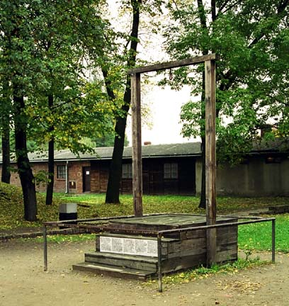 Rudolf Hoess was hanged on this gallows, next to the gas chamber in the main Auschwitz camp