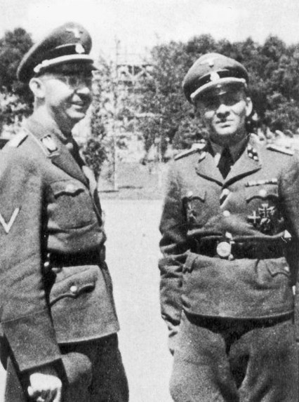 Heinrich Himmler on the left and Rudolf Hoess on the right