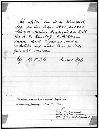 Affidavit signed by Rudolf Hoess on May 14, 1946